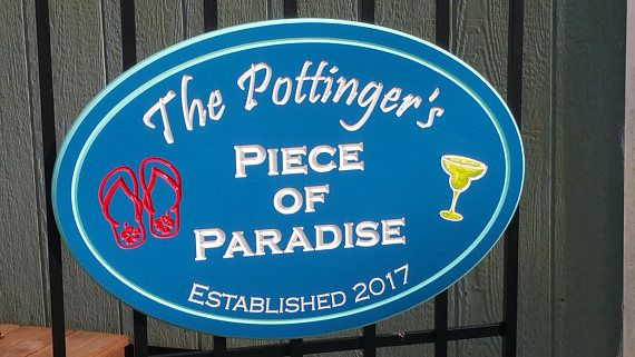 Custom Pool Sign Personalized PVC Board Piece of Paradise