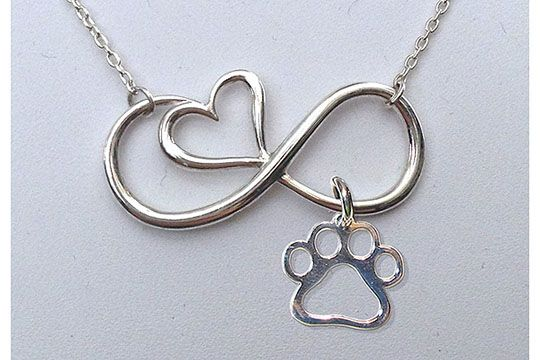 """Beautiful Sterling Silver Infinity Heart Necklace w/Puppy Paw® Charm. Your choice of an """"Open"""" Classic Puppy Paw® Charm or one w/a Birthstone Crystal. Only available from www.puppypaws.com   #puppylove #pet #lovedogs"""