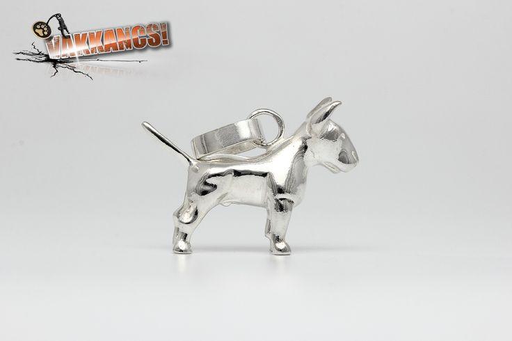 Tömör 925-ös ezüst bullterrier miniszobor kutyás medál.