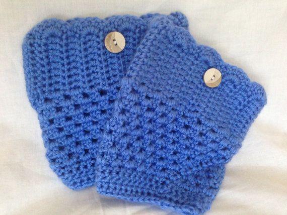 Crochet blue women's bootcuffs, medium blue women's boot toppers, boot socks