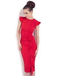 Stylowa Czerwona Sukienka z Falbanką