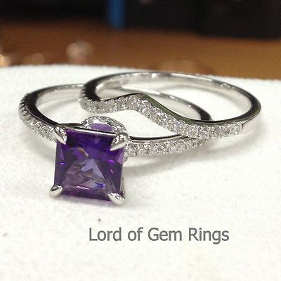 Wedding Ring Sets!Purple Amethyst with Diamonds Engagement Ring,14K White Gold