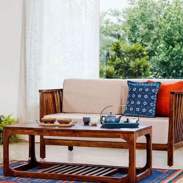 #living #furniture #sofa #coffee #table #wood #decor #cushions. Indian House  ...