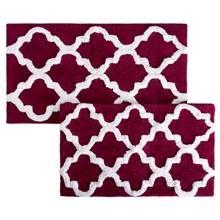 2-Pc Trellis Pattern Bathroom Mat Set in Burgundy