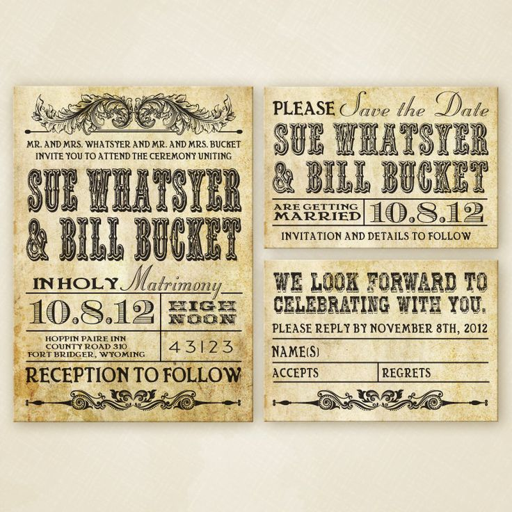 Western Wedding Invitation Set  PRINTABLE. via Etsy.
