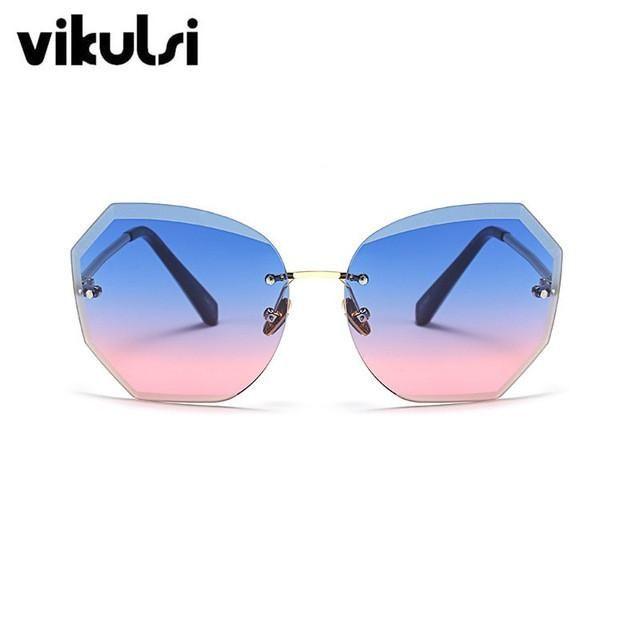 2017 Women Oversized Cutting Rimless Sunglasses Fashion Large Clear Transparent Sun Glasses For Female Pink Blue Elegant Eyewear