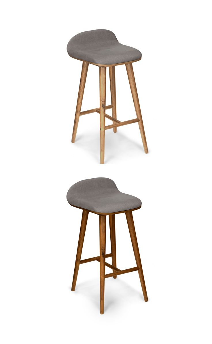 Gray Leather Counter Stool In Walnut Wood Finish Article