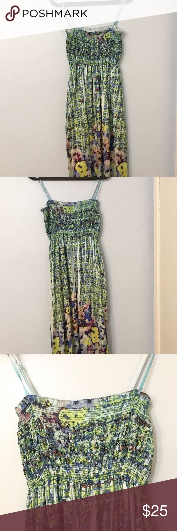 Lapis anthropologie maxi dress floral green/blue Gorgeous green floral Easter print lapis maxi dress great for upcoming spring weddings or any occasion removable straps spaghetti straps or strapless one size floor length sequins. WIDE STRETCHY ELASTIC UPP