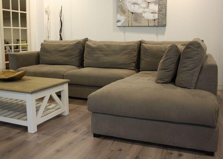 Landelijke lederen hoekbank meubelaanbiedingen goedkoopste banken bankstellen hoekbank in - Grijze lounge taupe ...