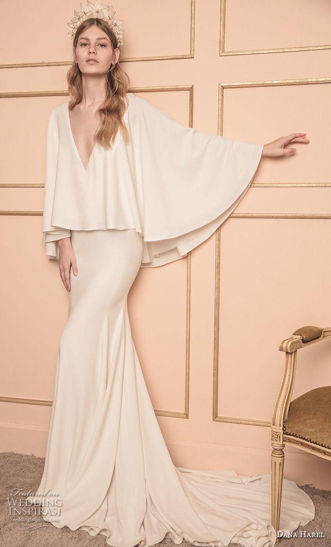 dana harel 2018 bridal long sleeves deep v neck poncho top simple clean modern fit and flare wedding dress chapel train (3) mv -- Dana Harel 2018 Wedding Dresses