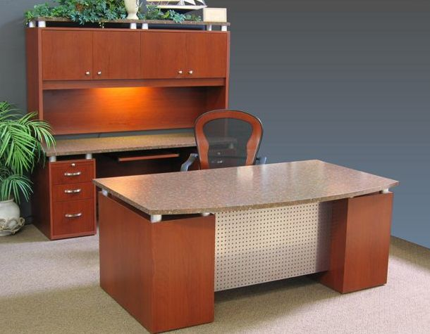 Titanium desk, kneehole credenza, and hutch. Shown in  cherry base with Formica Rosso Granite HPL top