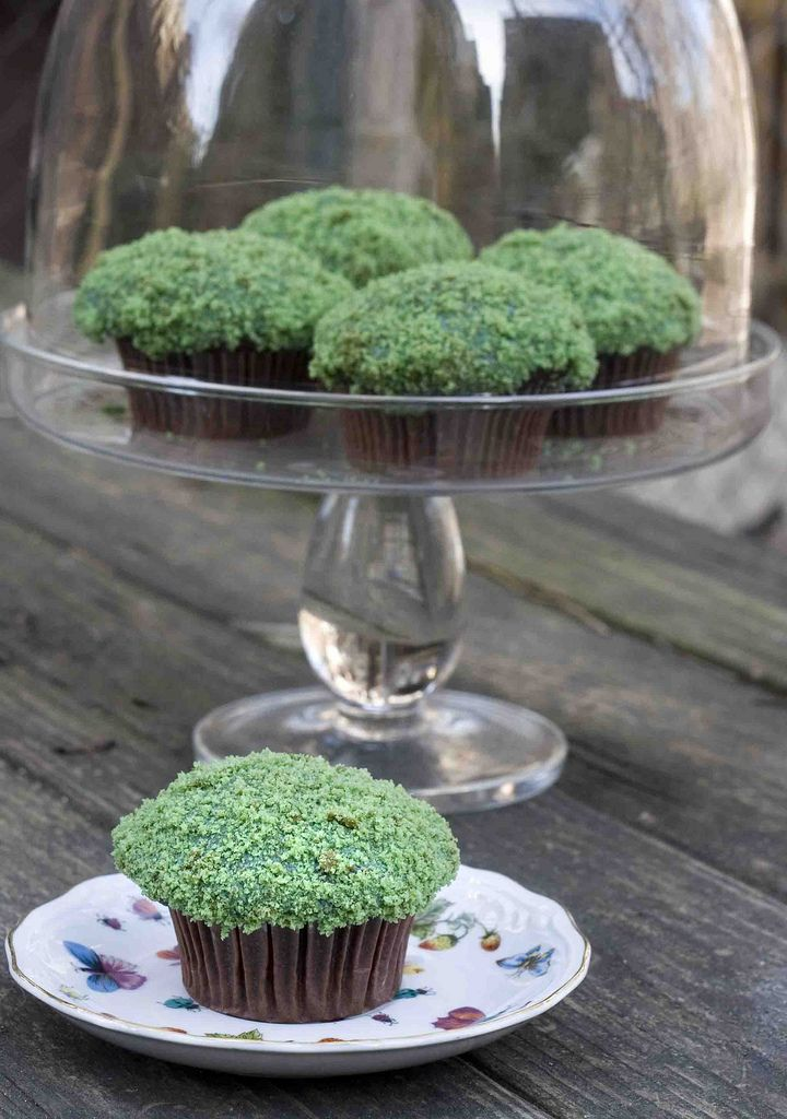 """moss"" cupcakes- now just put a mushroom on it and perfect!"
