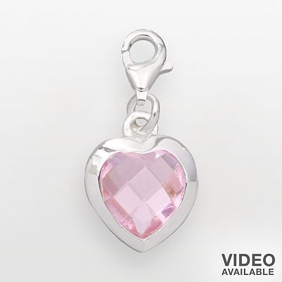 Individuality Beads Sterling Silver Heart Crystal Charm
