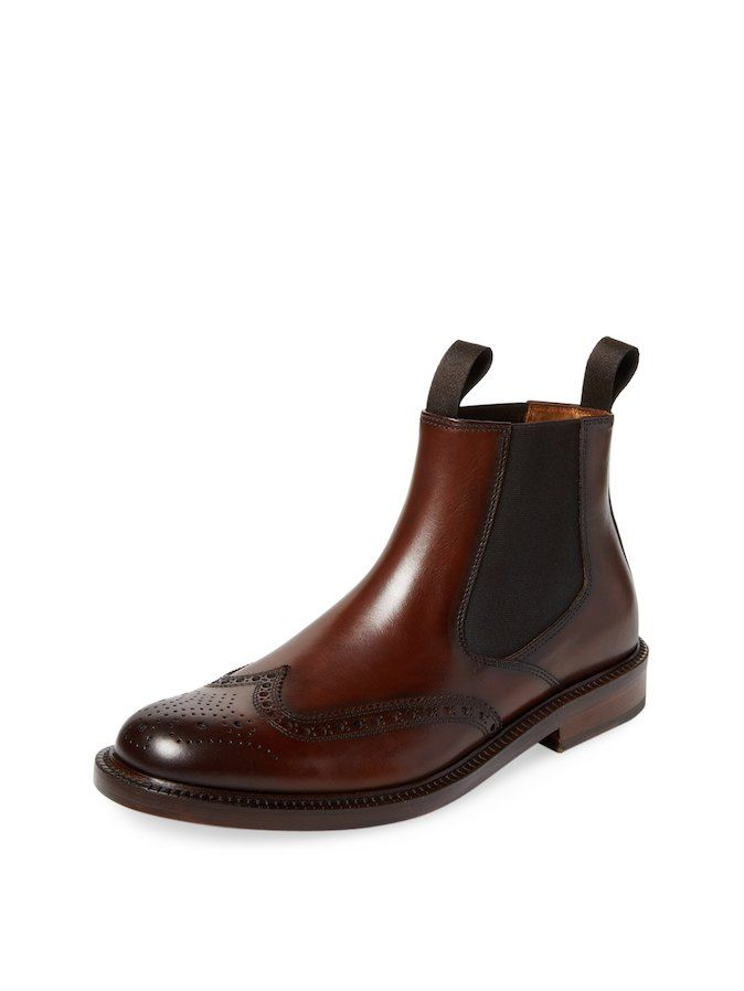 Men's wingtip chelsea boots