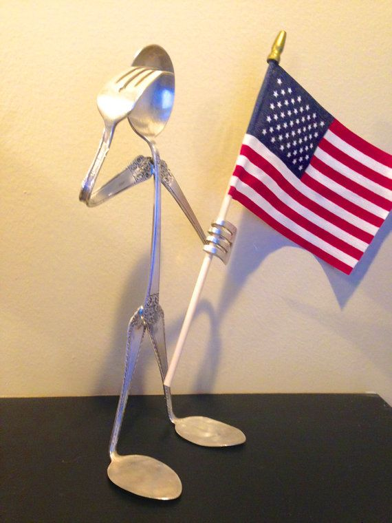 Saluting upcycled silverware with flag... by SilverBellesCrafts