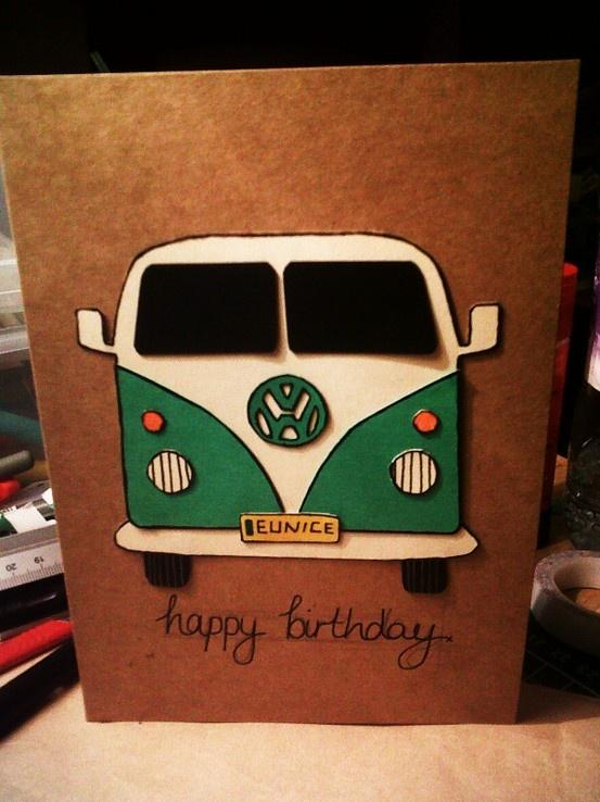 Handmade VW Camper van birthday card