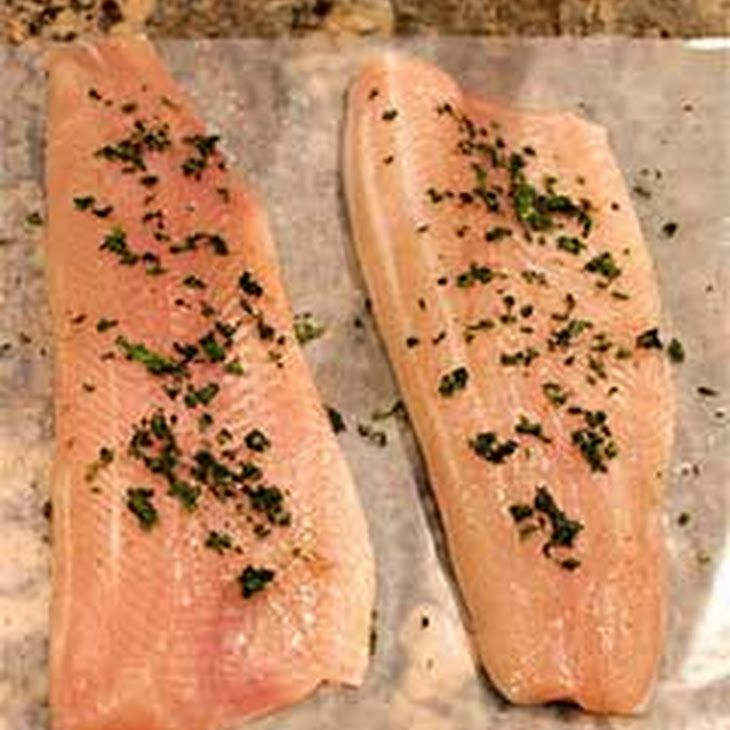 Seared Rainbow Trout Fillets Recipe Main Dishes with trout fillet, fresh tarragon, salt, freshly ground black pepper, olive oil