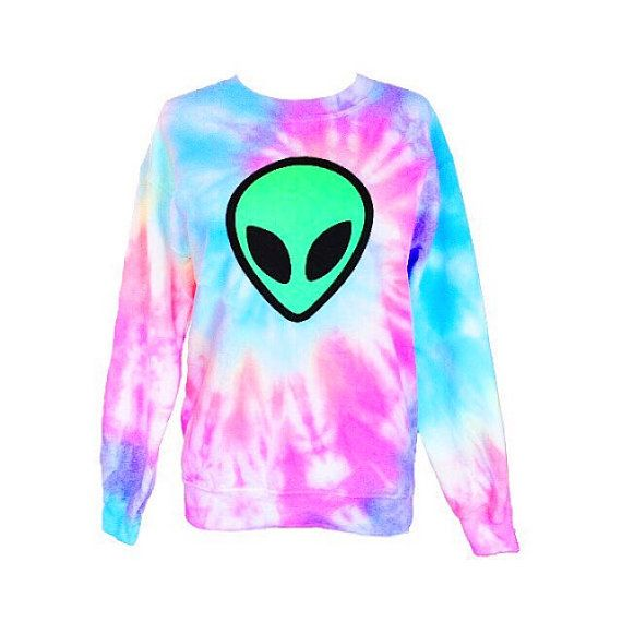 Pastel Tie Dye Alien Sweatshirt Crew Neck by Foxcultvintage