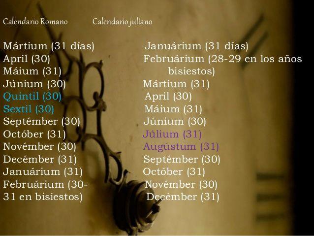 Calendario Romano Calendario juliano  Mártium (31 días) Januárium (31 días)  April (30) Februárium (28-29 en los años  Máium ...
