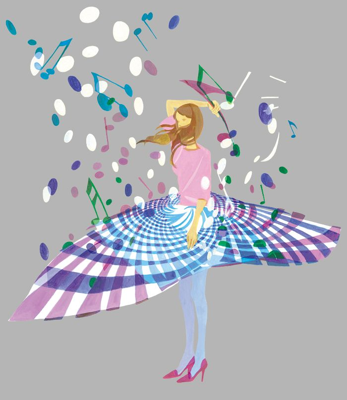 "I tried to express the ""music woman"", who loves music. I used her flared skirt to resemble musical stave and from the skirt music are born."