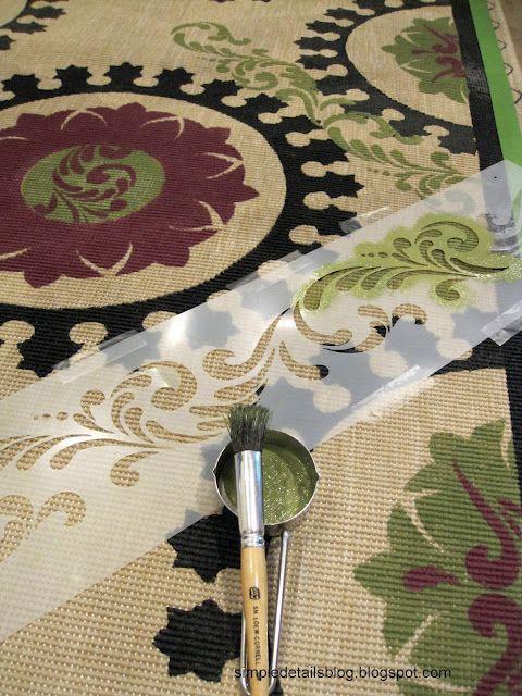 DIY Suzani stenciled rug tutorial
