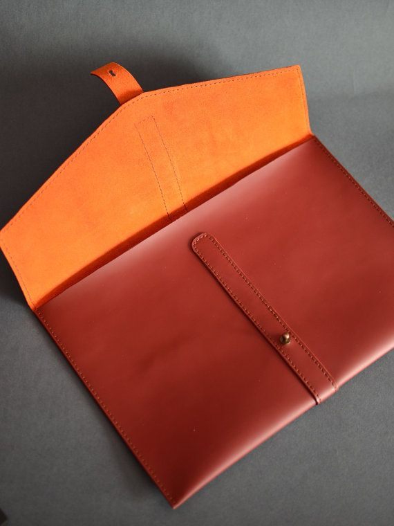 Burgundy leather case. MacBook leather sleeve. by InnesBags