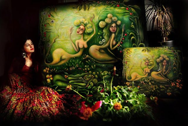 Paintings by Dana Stefania Apostol : Spring and the baby Spring