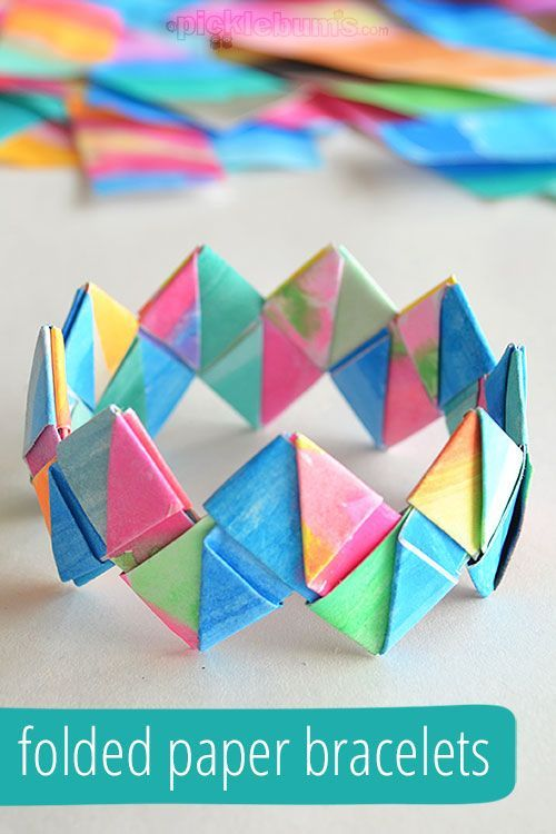 Make a cool folded paper bracelet for your kid's artwork! Makes a great mother's day gift!