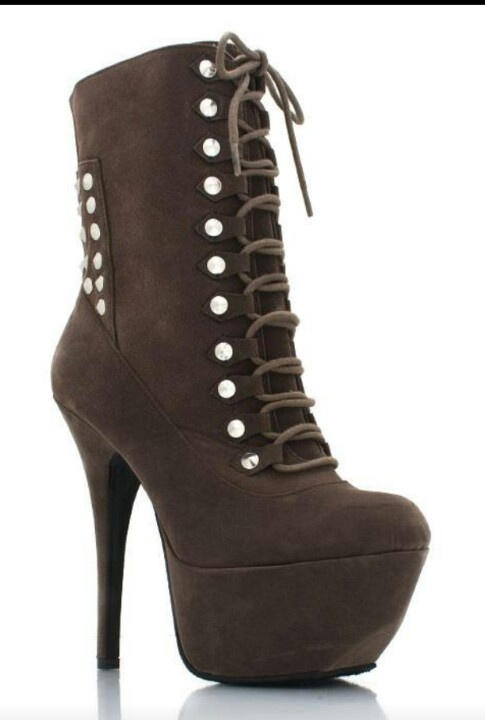 studded lace-up platform booties