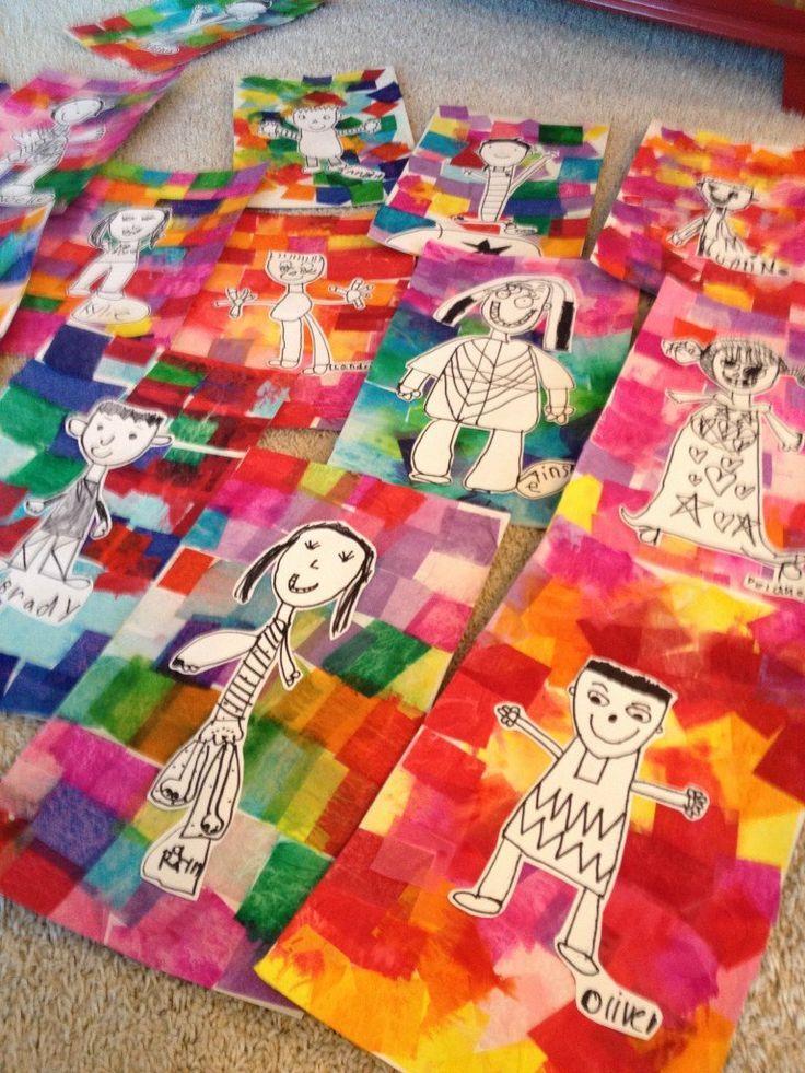Kindergarten self portraits on tissue paper backgrounds ...