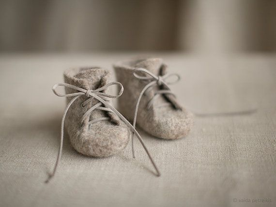 Newborn booties Natural organic wool boots Felted unisex by VART