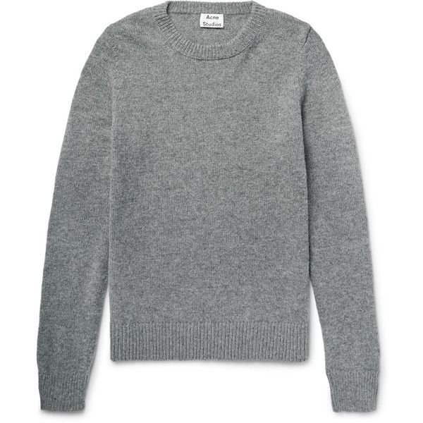 Acne Studios Kai Wool Sweater (400 CAD) via Polyvore featuring men's fashion, men's clothing, men's sweaters, mens grey sweater, mens gray sweater and mens wool sweaters