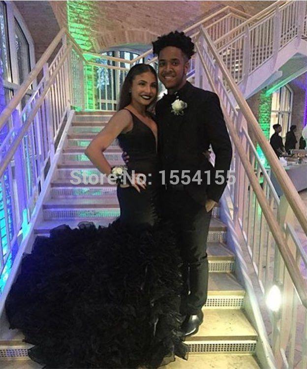 Black dress prom couples colors