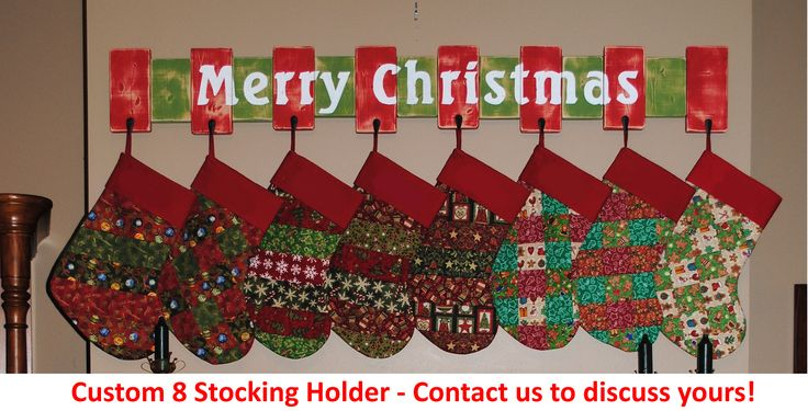 Custom Christmas stocking holder for a customer with 8 wide stockings.   She wanted them to hang without too much overlap, so we designed a stocking hanger with spacer boards to provide the room she needed.   We think it came out great, and so did she! :-)  #obcs #christmasdecorations #christmasdecor #christmasstockingholders #stockingholders #etsyseller