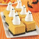 Ghoulish Pumpkin Cheesecake Bars. Hmmm...maybe. Not spooky enough but sounds delicious!