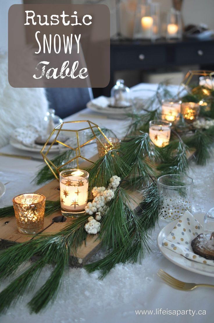 Rustic Snowy Table: Pretty rustic tablescape with lots of faux snow, and personalized