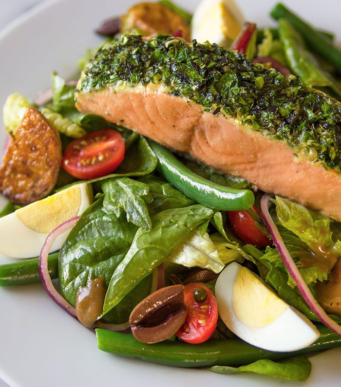 Can't wait to make this baked salmon salad recipe with herbs and roast potatoes. Yum!