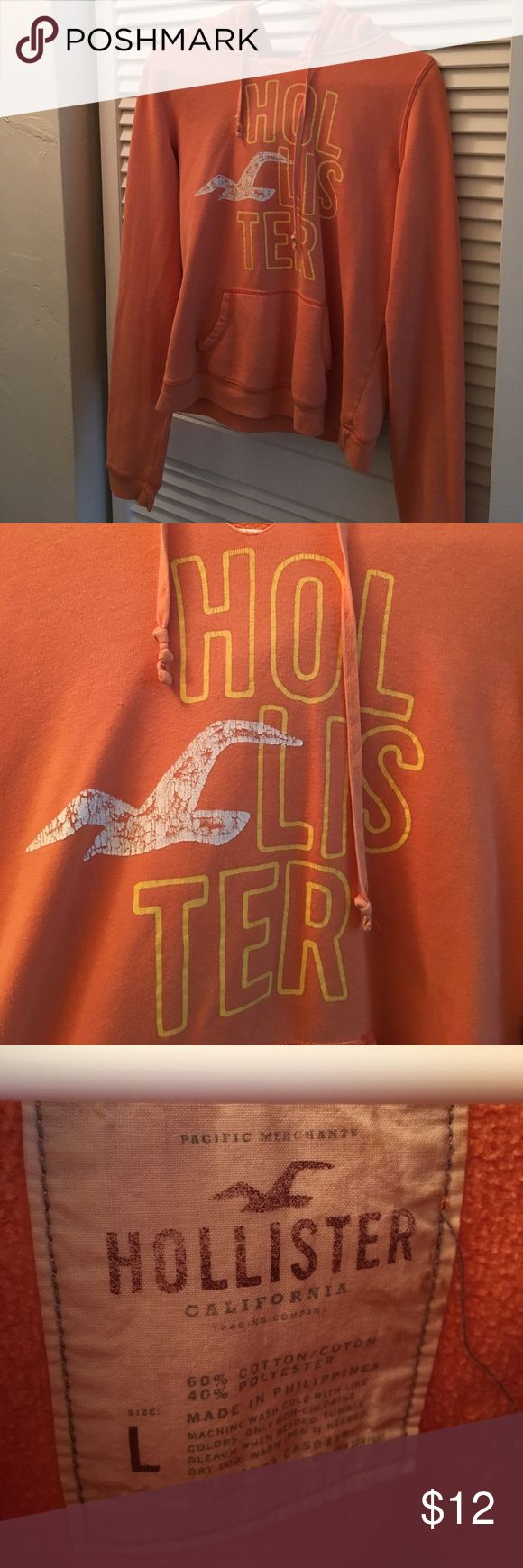 Hollister Orange Hoodie Perfect hoodie for fall or during the summer with a pair of shorts, even though it says large it's a hollister large so it fits like a medium, not oversized feeling (I usually wear medium hoodies)  💋 no trades Hollister Sweaters