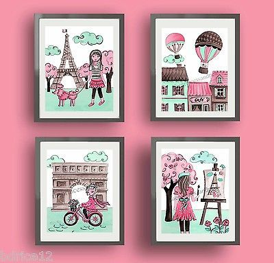 TRAVEL BEDDING CIRCO PARIS NURSERY ART DECOR EIFFEL TOWER GIRL CHILDREN PRINTS