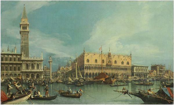 Giovanni Antonio Canal, called Canaletto (Venice 1697-1768) The Molo, Venice, from the Bacino di San Marco oil on canvas 27 1/8 x 44 3/8 in. (68.8 x 112.7 cm.)