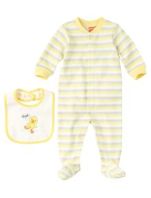 Teeny Weeny Stripe Sleepsuit with Quack Bib product photo