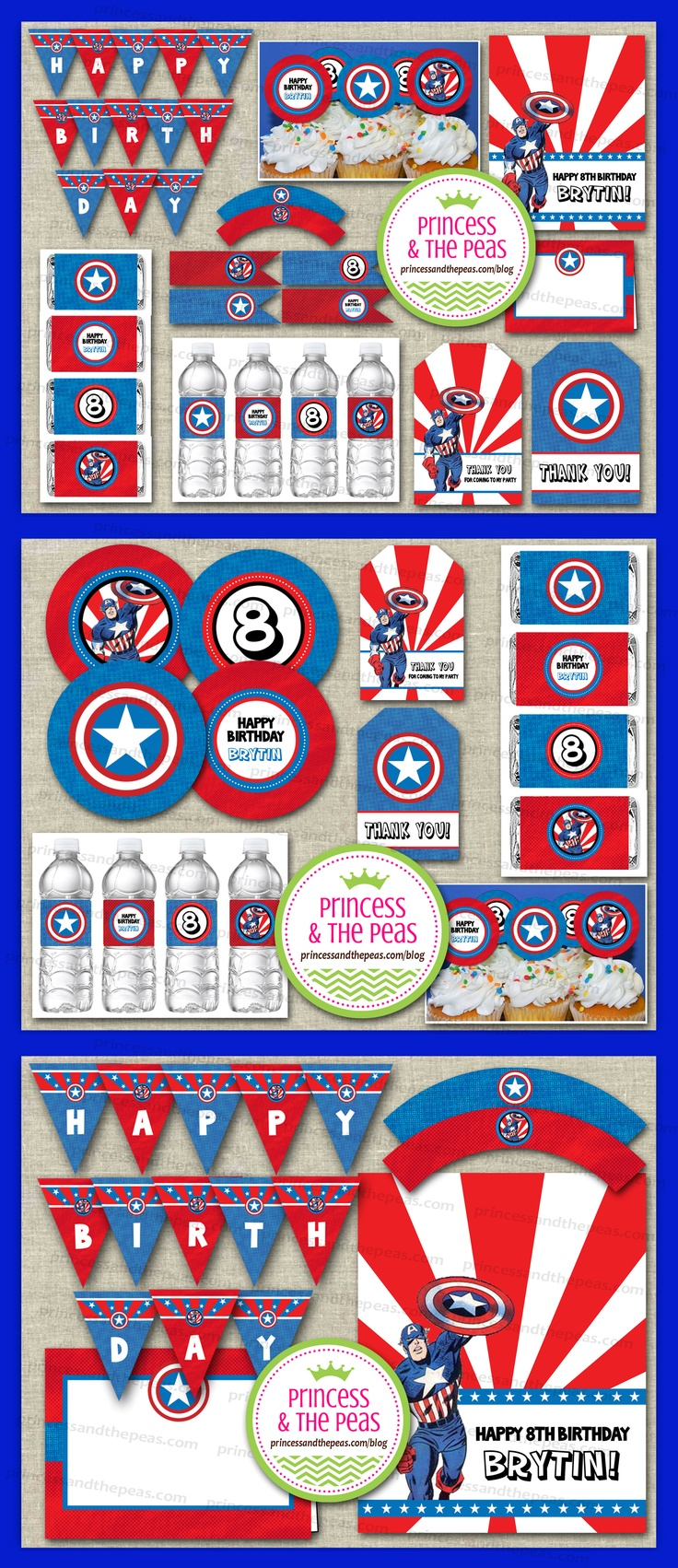 Captain America Party Printables   www.princessandthepeas.com/blog