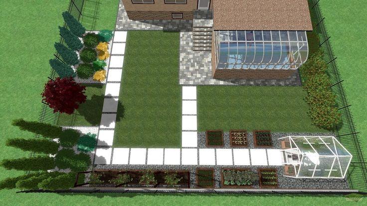 Ландшафтный дизайн заднего двора участка с теплицей, бассейном и клумбами