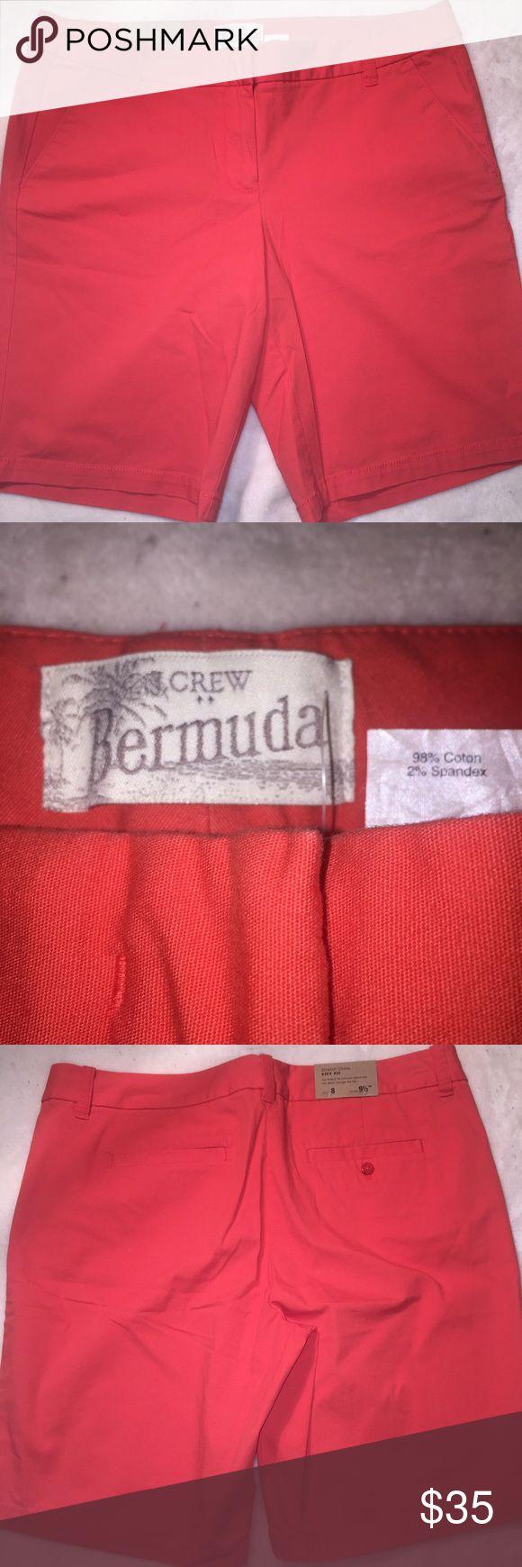 J Crew Factory orange shorts size 8 Brand new j Crew factory Bermuda city fit stretch chino short. Size 8 9 1/2 inseam. J. Crew Factory Shorts Bermudas