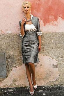 Etui-Linie Herz-Ausschnitt Knielang Taft Brautmutterkleider
