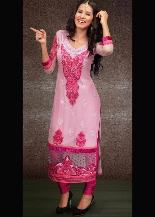 Light Pink Party Salwar Dress In Georgette . Shop online - http://gravity-fashion.com/16502-light-pink-party-salwar-dress-in-georgette.html