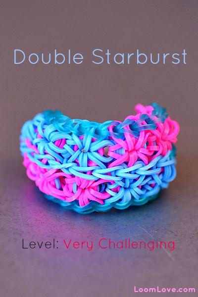 How to Make a Double Starburst Rainbow Loom Bracelet. I love loom bracelets! I have dozens! Please follow me if u like them too! :)