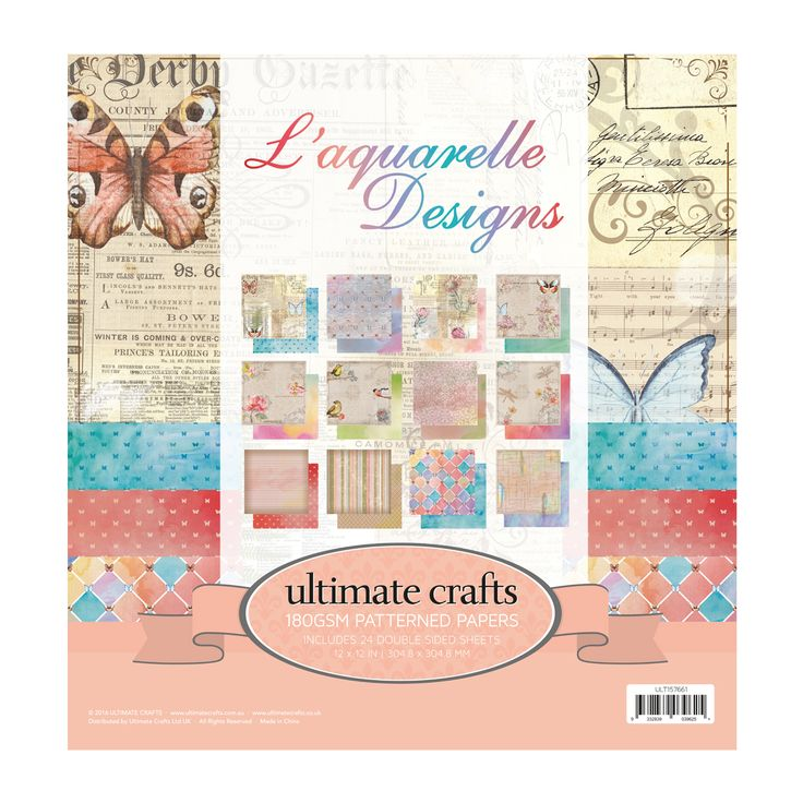Ultimate Crafts L'Aquarelle is a range of beautiful water colour papers with very fresh & on trend designs. Papers are double sided in pastel colours.