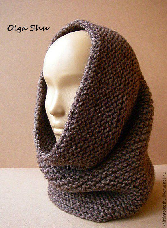 Купить Снуд вязаный шарф на голову хомут какао коричневый темный беж - однотонный