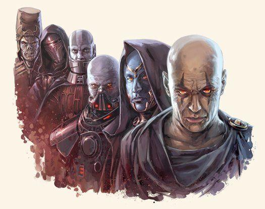 Six famous Sith Lords bearing the Darth title, from left to right: Darth Andeddu, Darth Revan, Darth Malak, Darth Malgus, Darth Ruin, Darth Bane